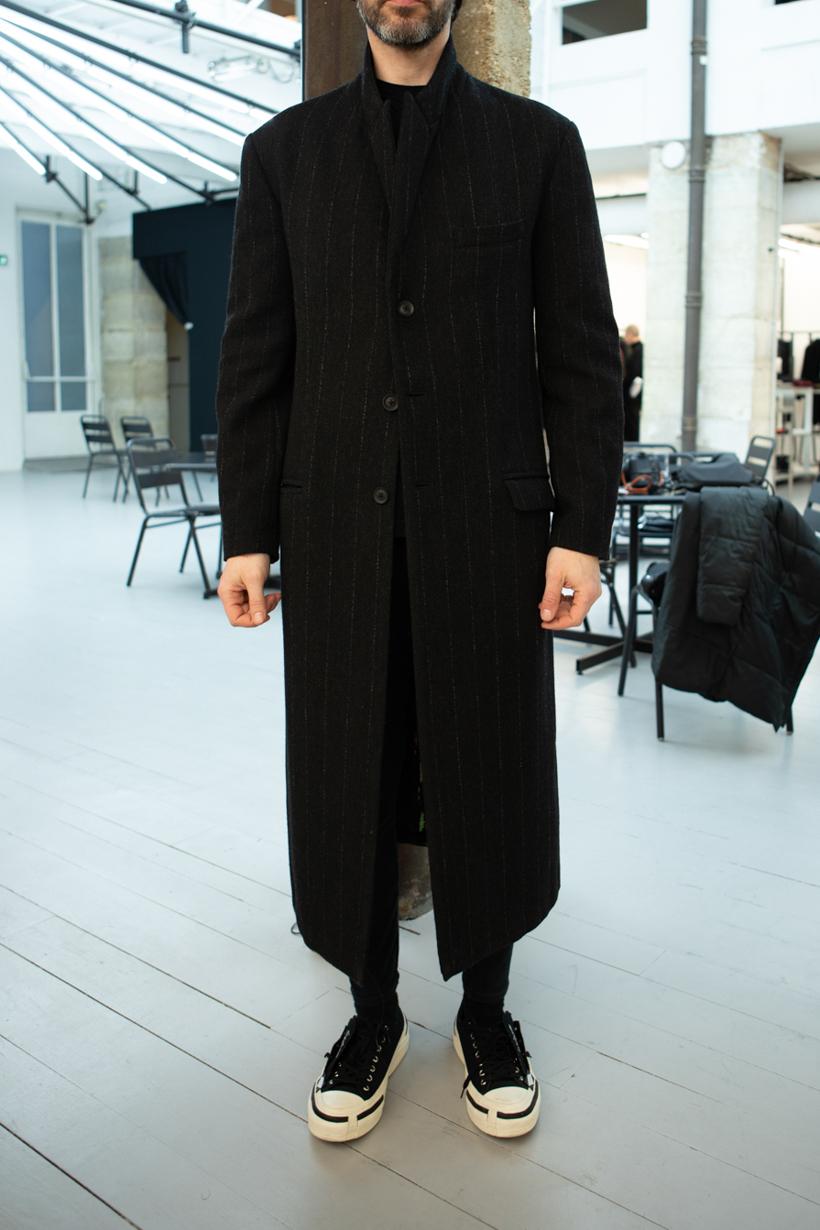Yohji Yamamoto Pinstripe Coat in Black Skinny Sweatpants in Black FW 20