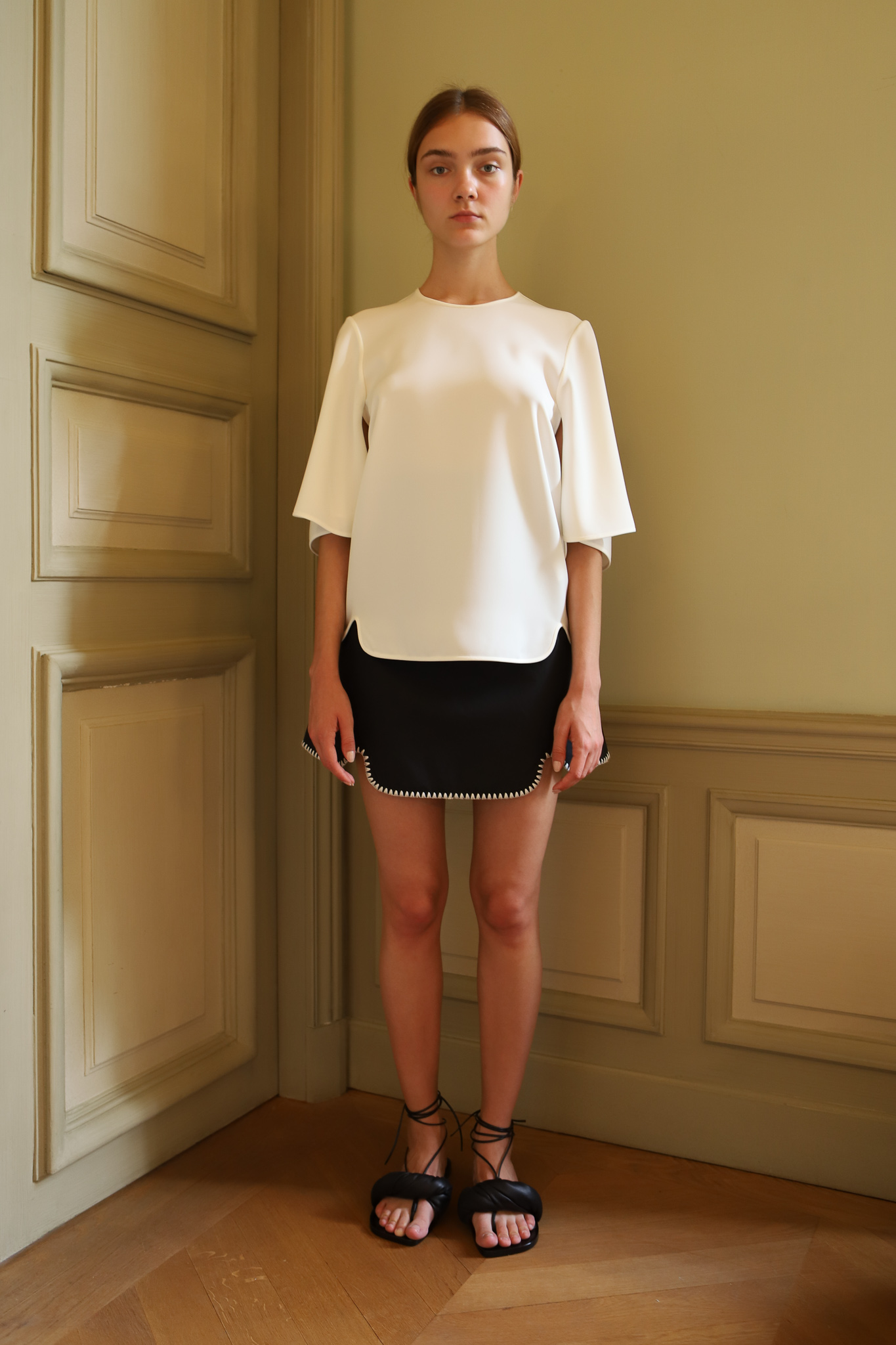 Ellery Mystic Force Flap Sleeve Top in White Mini Skirt in Black Spring 20 RTW