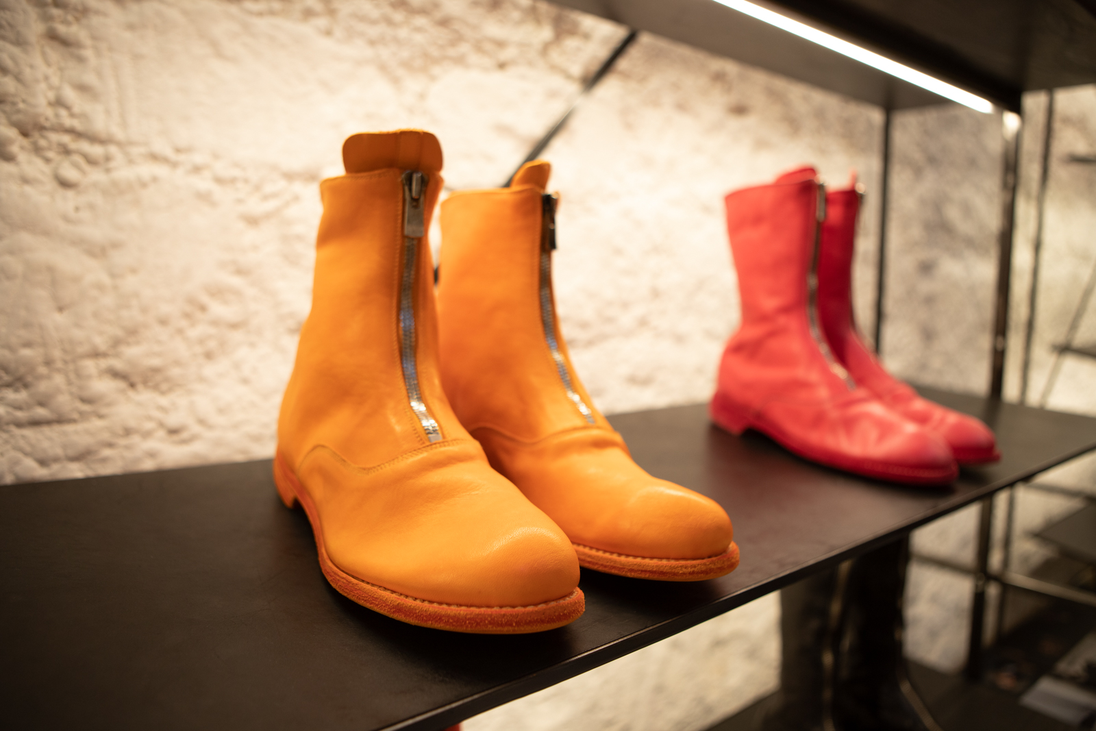 Guidi Front Zip Boots in Orange Leather 310 Military Boots in Pink Leather FW20