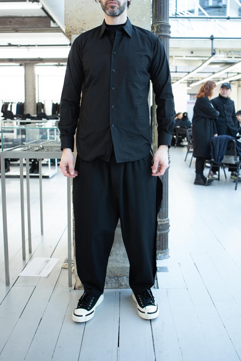 Yohji Yamamoto Slim Fit Button Up Shirt in Black Raw Side Seam Trousers FW 20