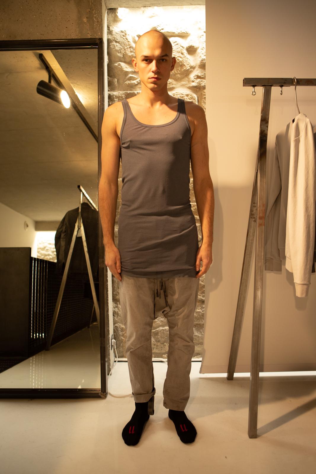 11 By Boris Bidjan Saberi Long Tank in Dark Grey Drop Crotch Drawstring Pants in Grey FW20