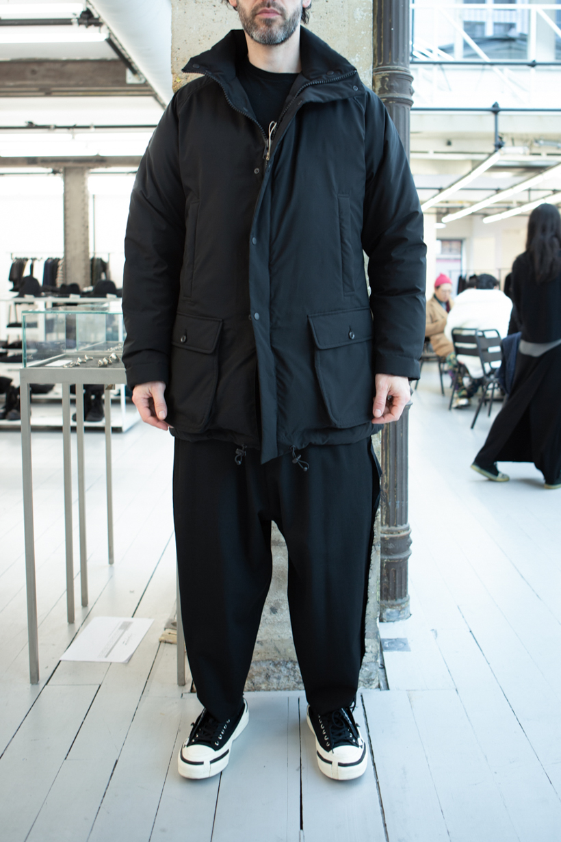 Yohji Yamamoto Tactical High Neck Padded Jacket in Black Loose Fit Raw Seam Trousers FW 20
