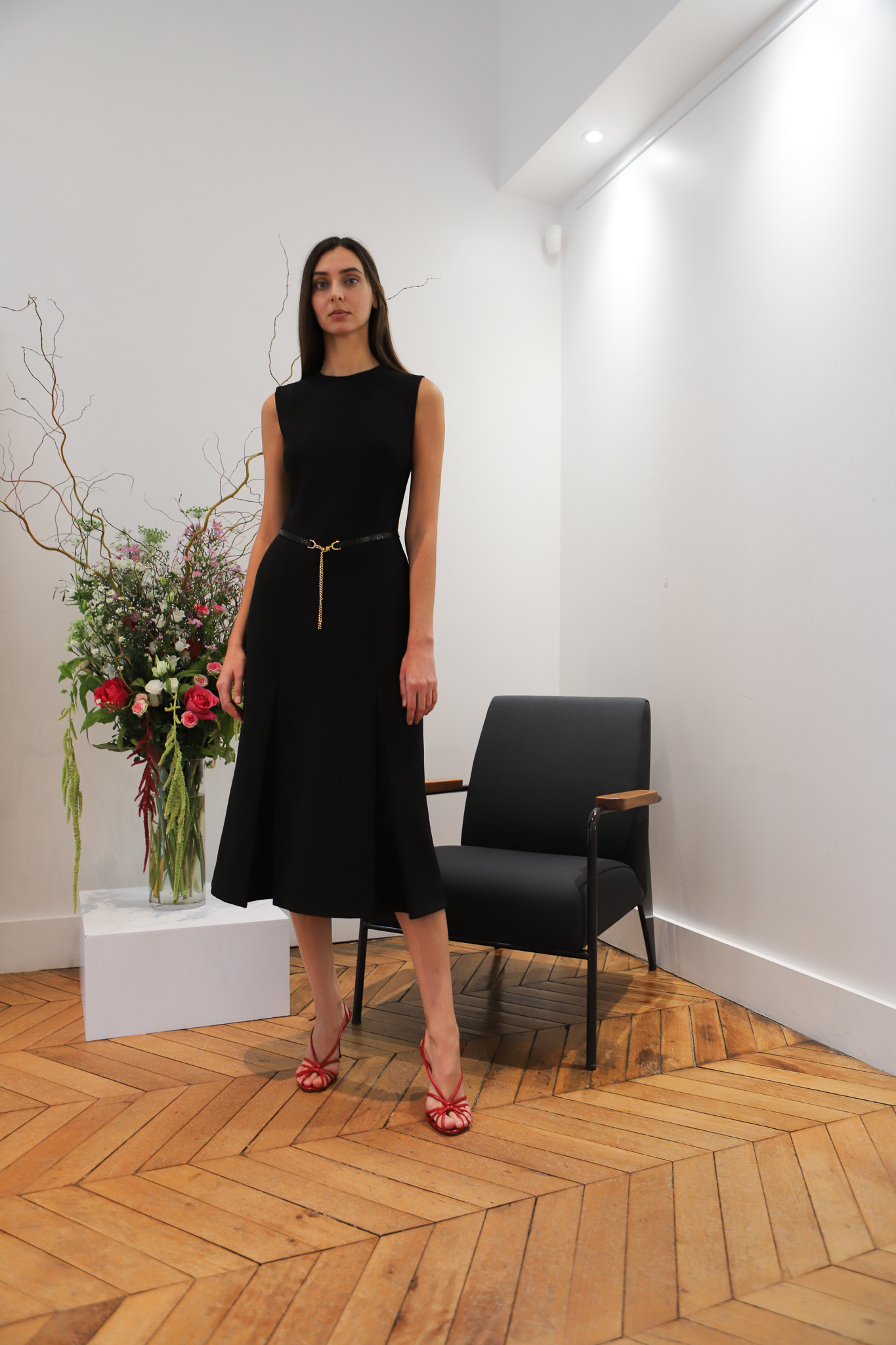 Victor Beckham Sleeveless Belted Dress in Black Spring 20 RTW