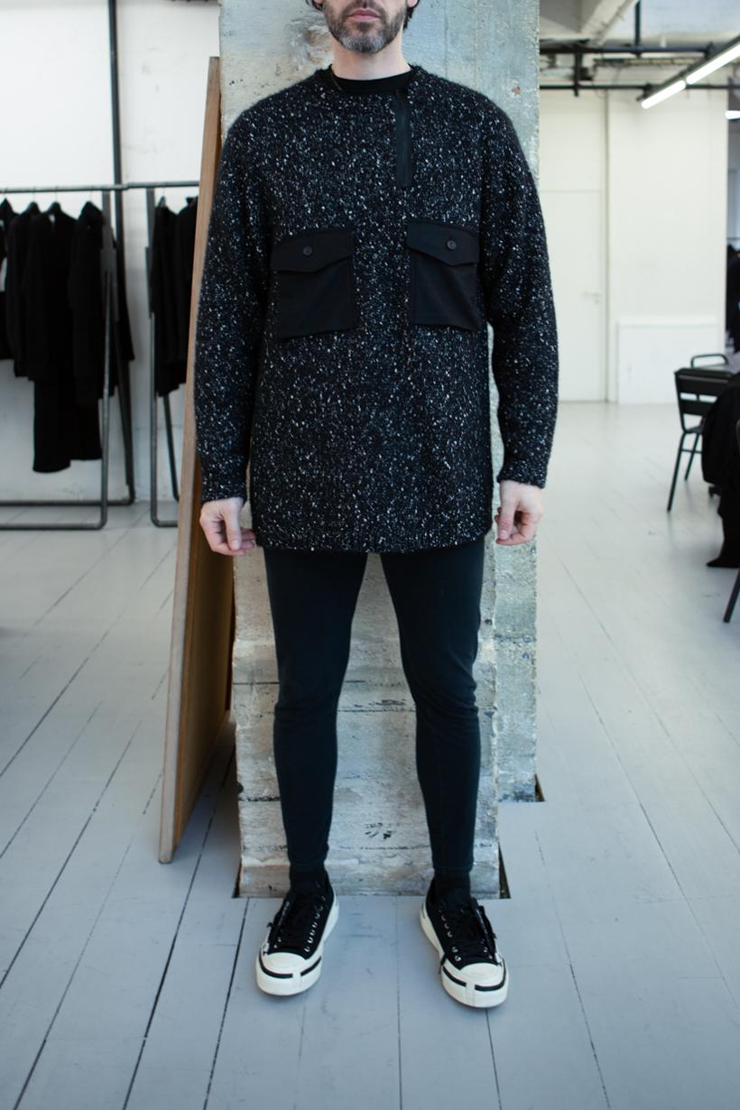 Yohji Yamamoto Speckle 2 Pocket Jumper Skinny Sweatpants in Black FW 20