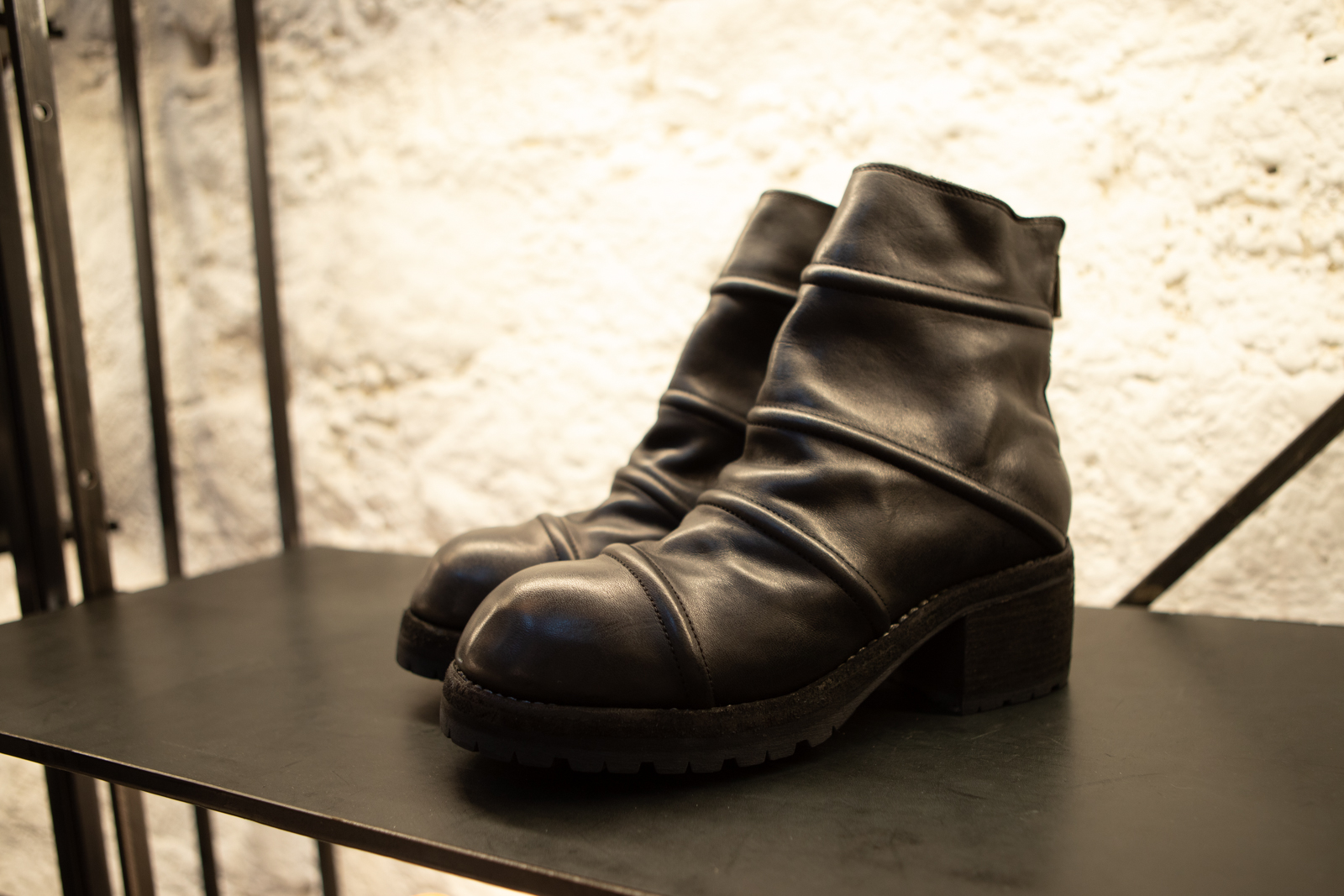 Guidi Back Zip Stich Boots in Black Leather FW20