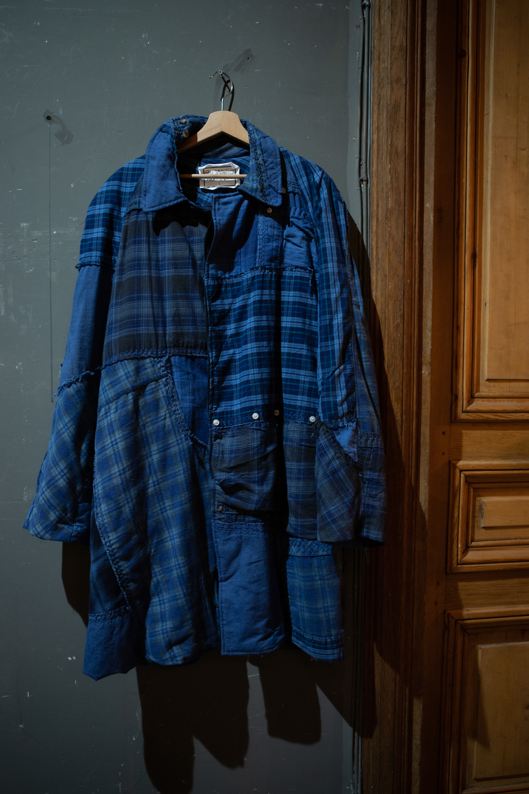 By Walid Patchwork Flannel Coat in Navy FW20
