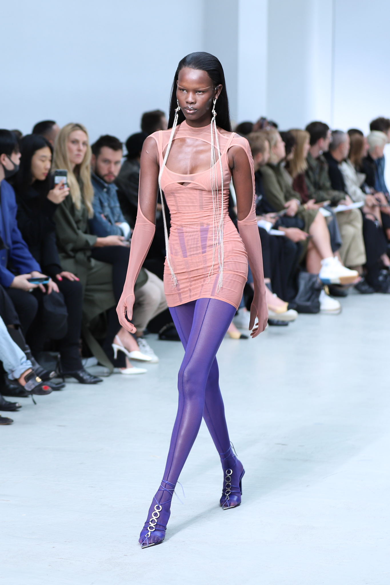 Mugler Runway Sheer Cut Out Glove Dress Leggings in Purple Long Earrings Spring 20 RTW