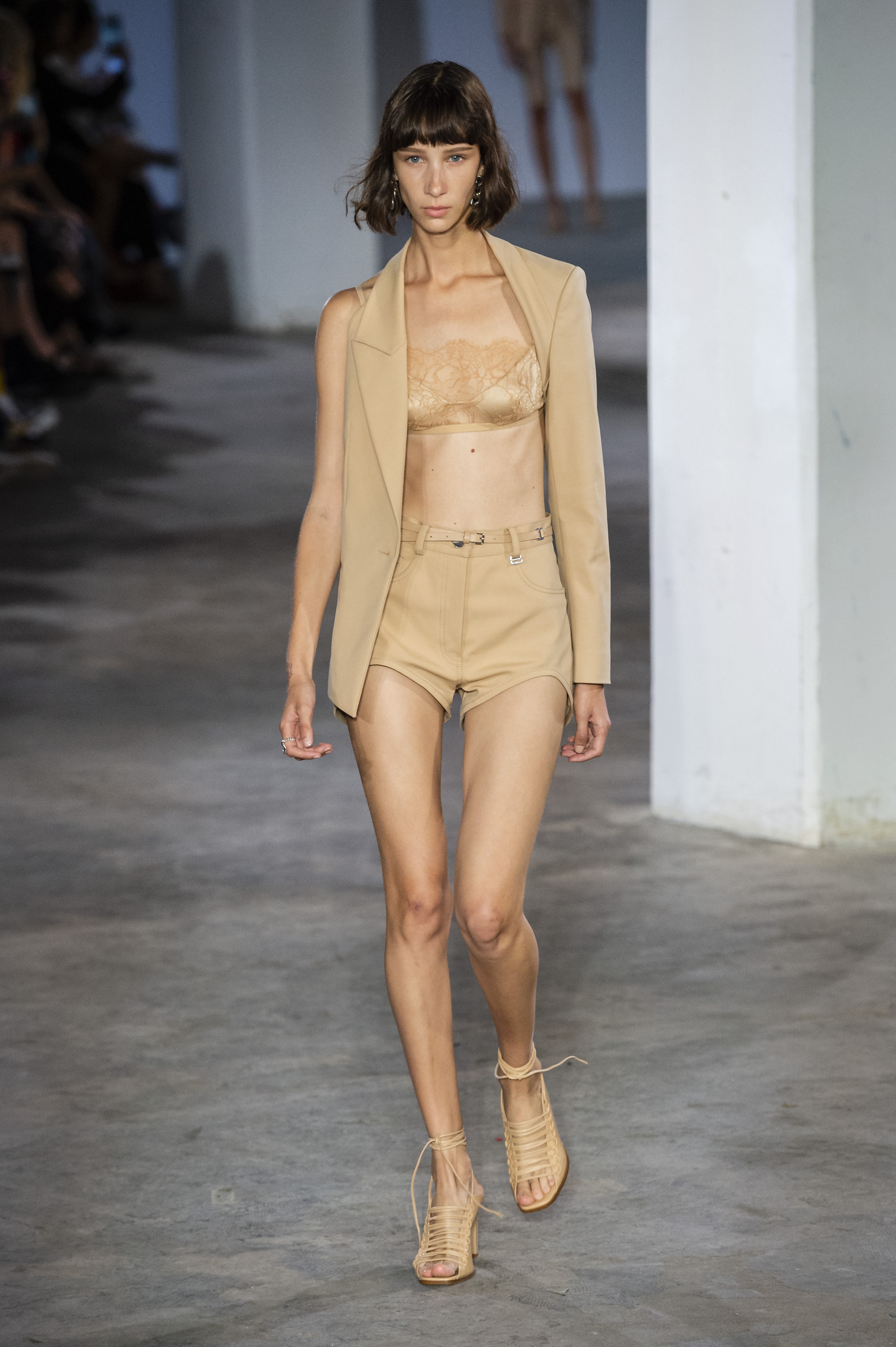 Dion Lee Runway One Sleeve Blazer in Nude Trace Lace Bandeau in Nude Mini Shorts in Nude Tie Up Sandals Spring 19 RTW