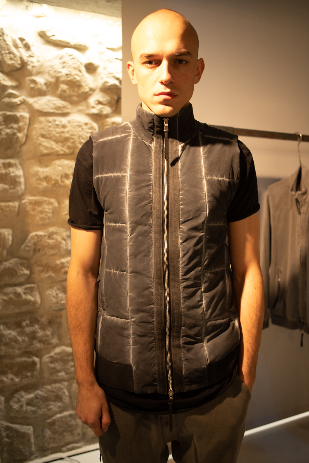 11 By Boris Bidjan Saberi Cold Dye High Zip Padded Vest FW20