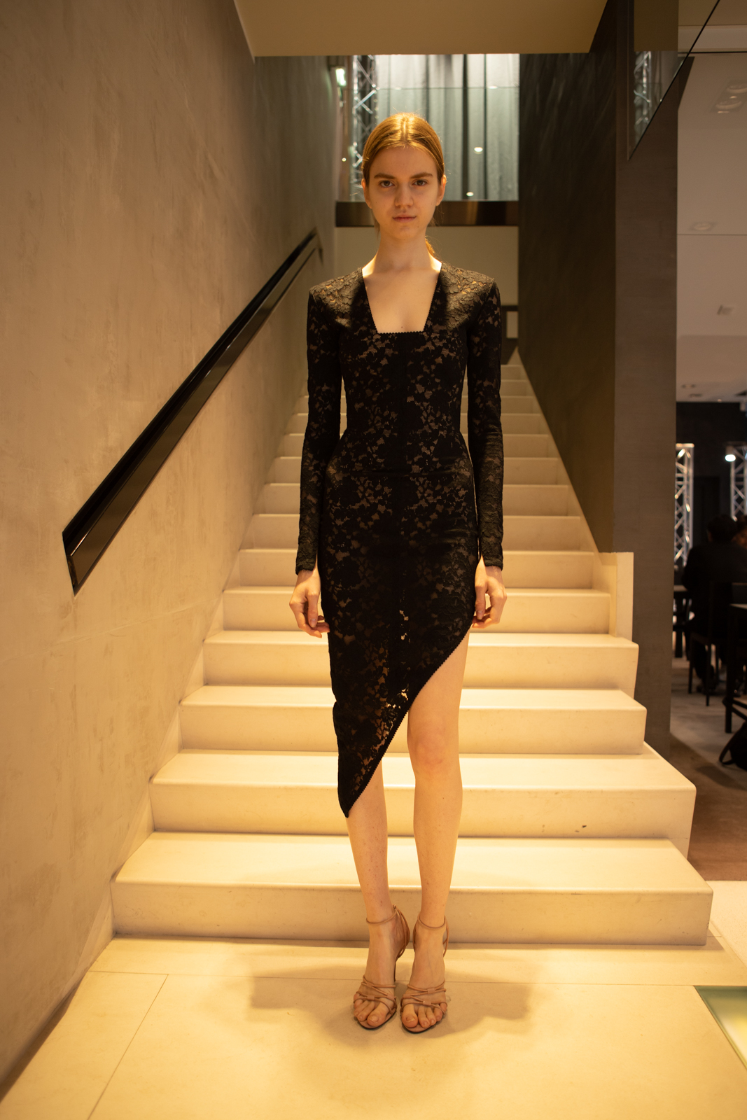 Alexander Wang Lace Asymmetrical Dress in Black FW 20