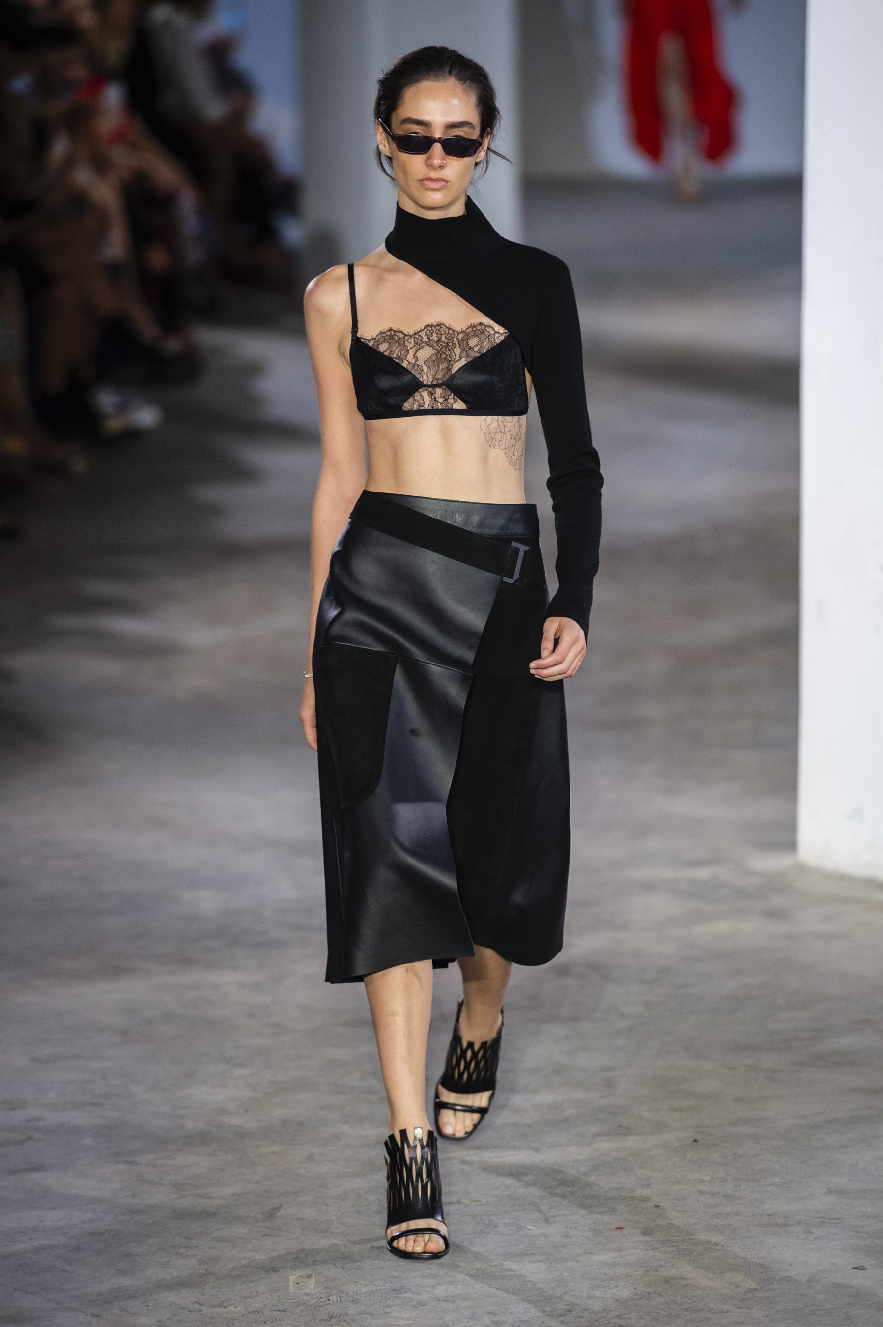 Dion Lee Runway One Sleeve Mock Neck Top Trace Lace Bandeau in Black Patch Work Leather Skirt in Black Spring 19 RTW