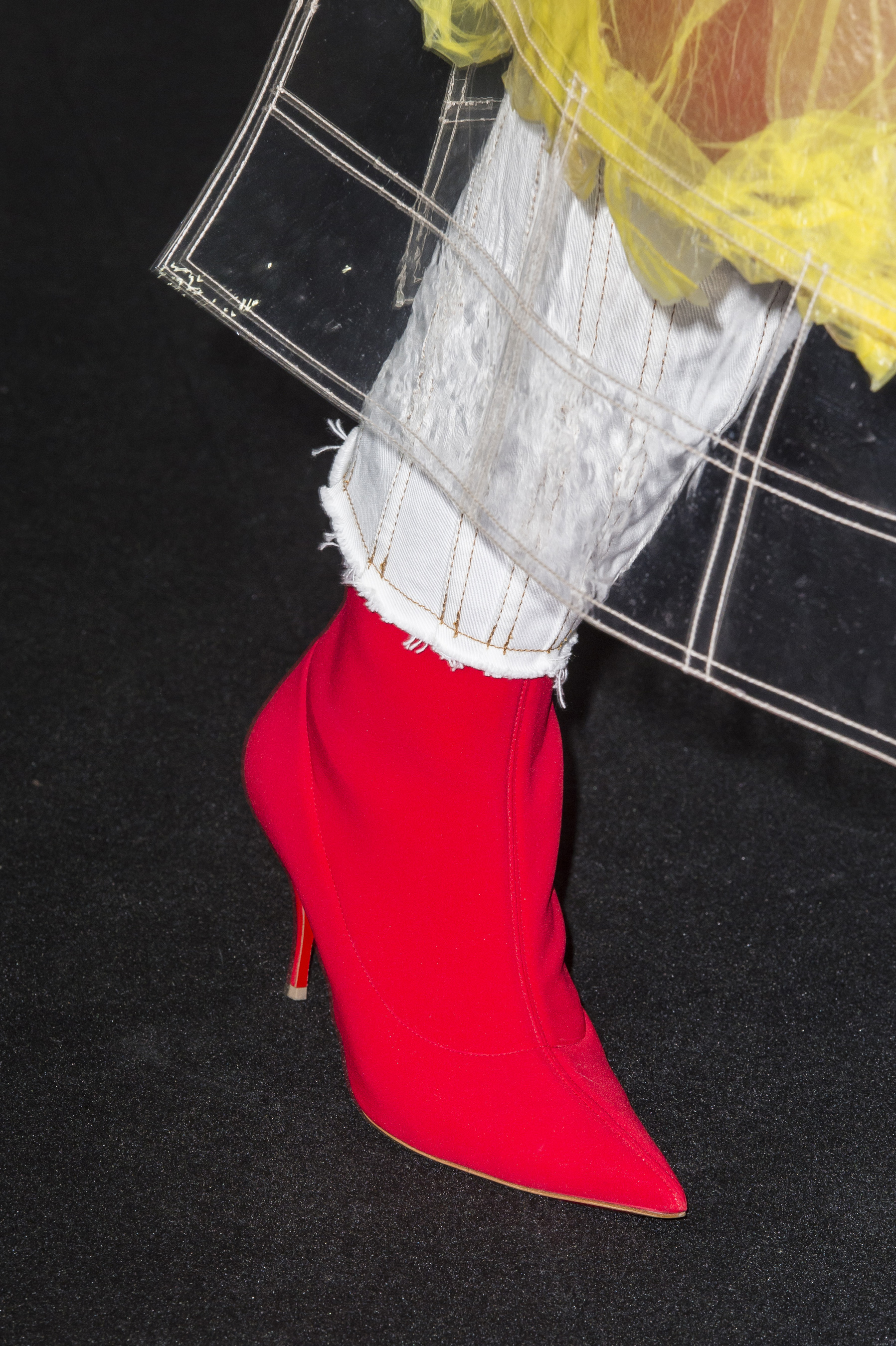 Mugler Details High Waisted Spiral Seam Stitch Jeans With Raw Bottom Hem Side Zip Boots in Red Suede Spring 19