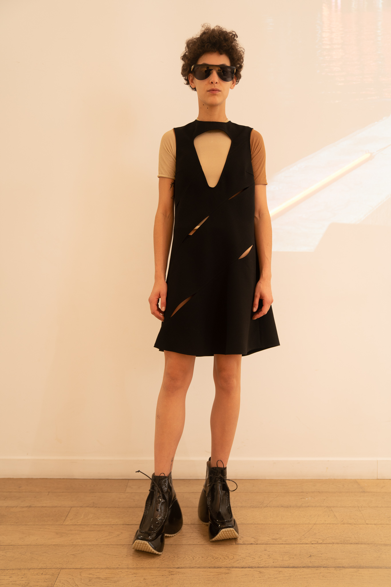 Courreges Cutout Multi Slit Dress in Black SS20