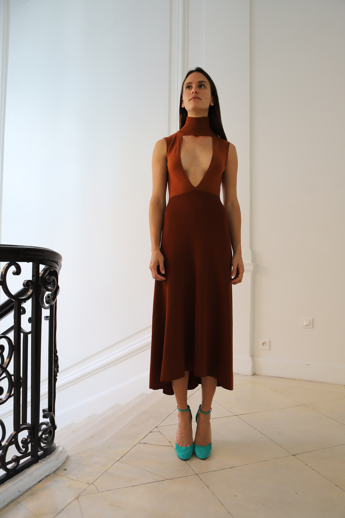 Victor Beckham Sleeveless Turtleneck Cut Out Dress in Rust Spring 20 RTW