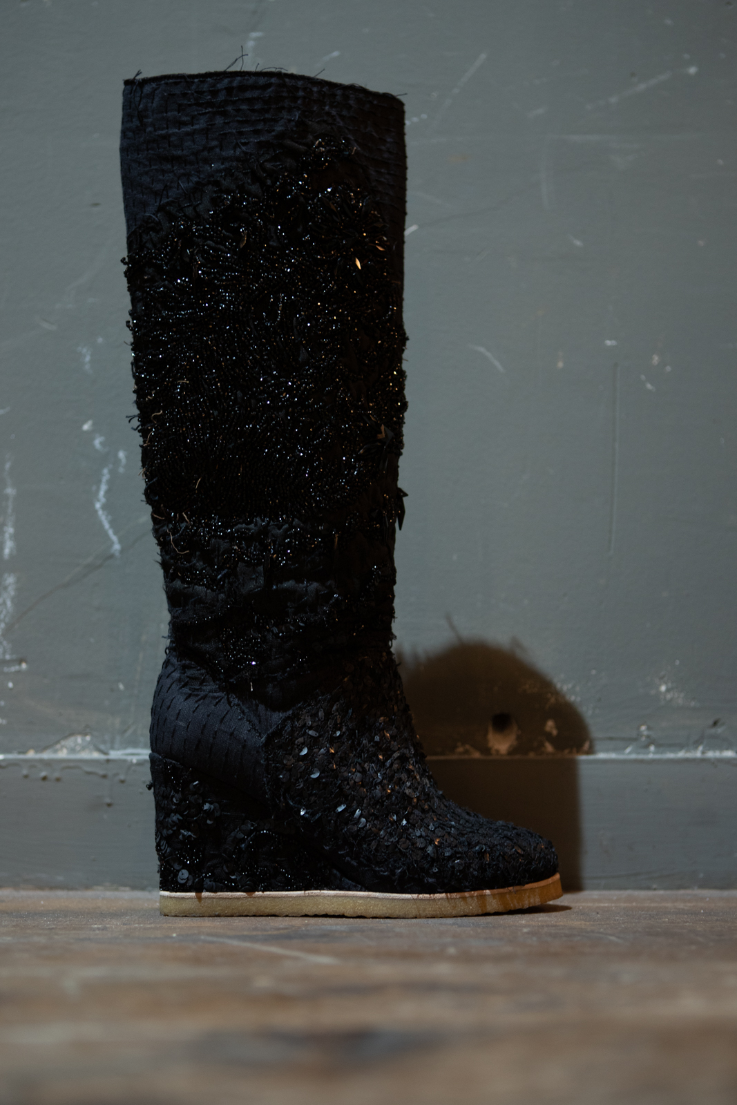 By Walid	High Sequin Wedge Boots FW20