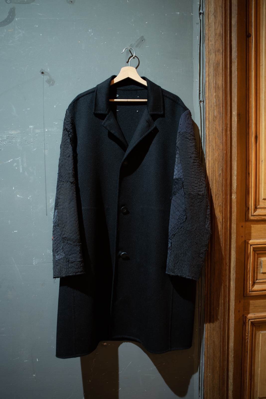 By Walid Patchwork Contrast Sleeve Coat FW20