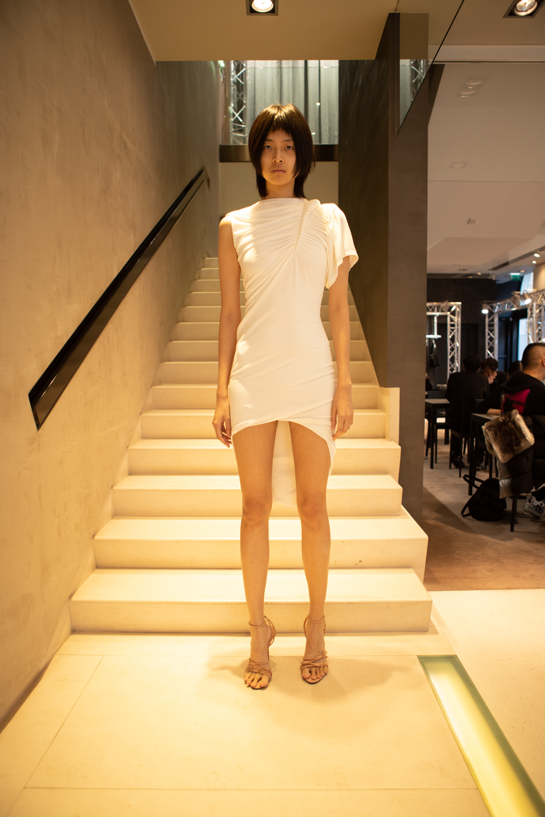 Alexander Wang Ruched One Sleeve Dress in White FW 20