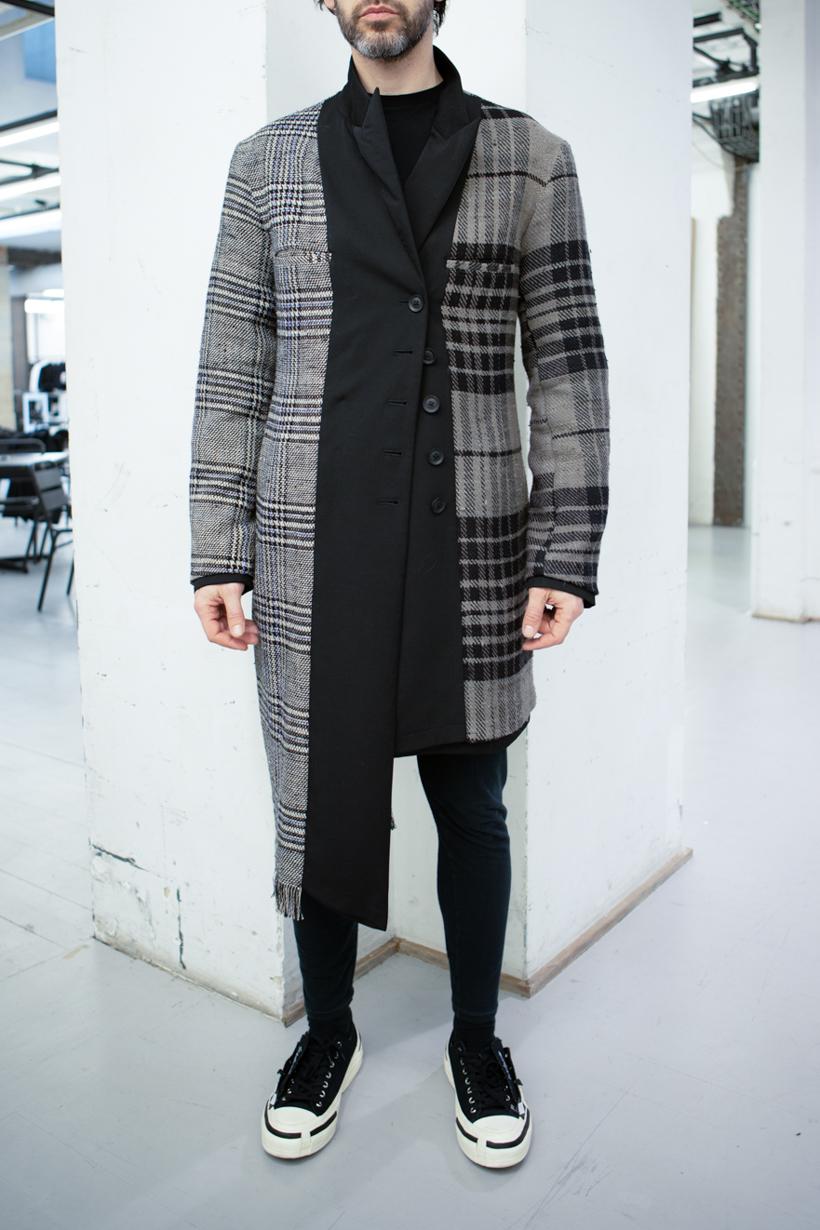 Yohji Yamamoto Mixed Pattern Asymmetrical Coat FW 20