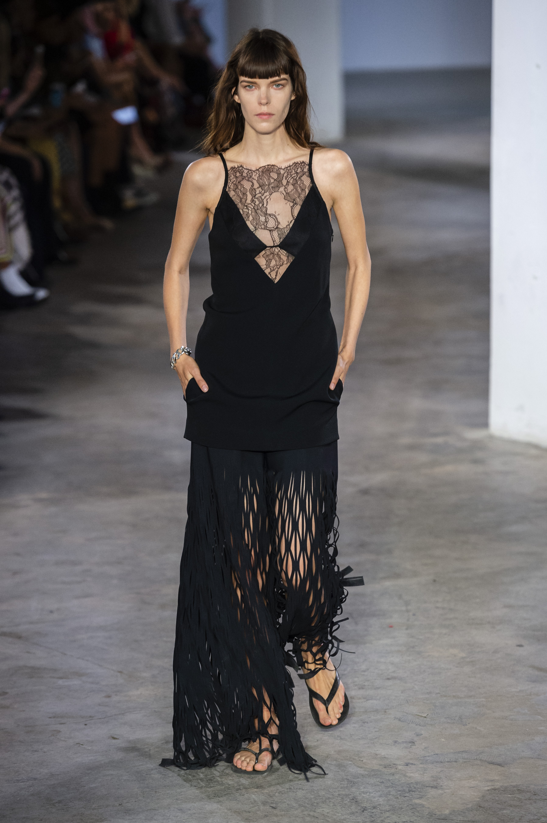 Dion Lee Runway Lace Mini Dress Mesh Panel Skirt in Black Spring 19 RTW
