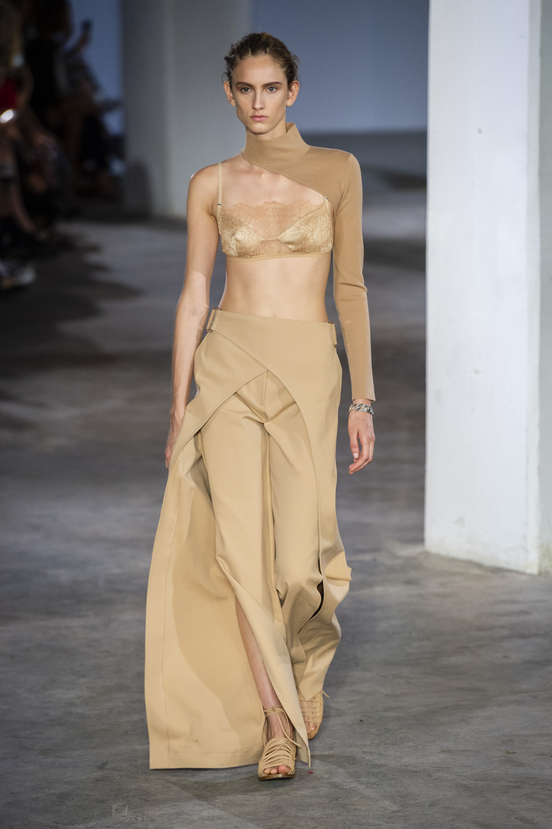 Dion Lee Runway One Sleeve Mock Neck Top Trace Lace Bandeau in Nude Cross Fold Wrap Skirt Spring 19 RTW