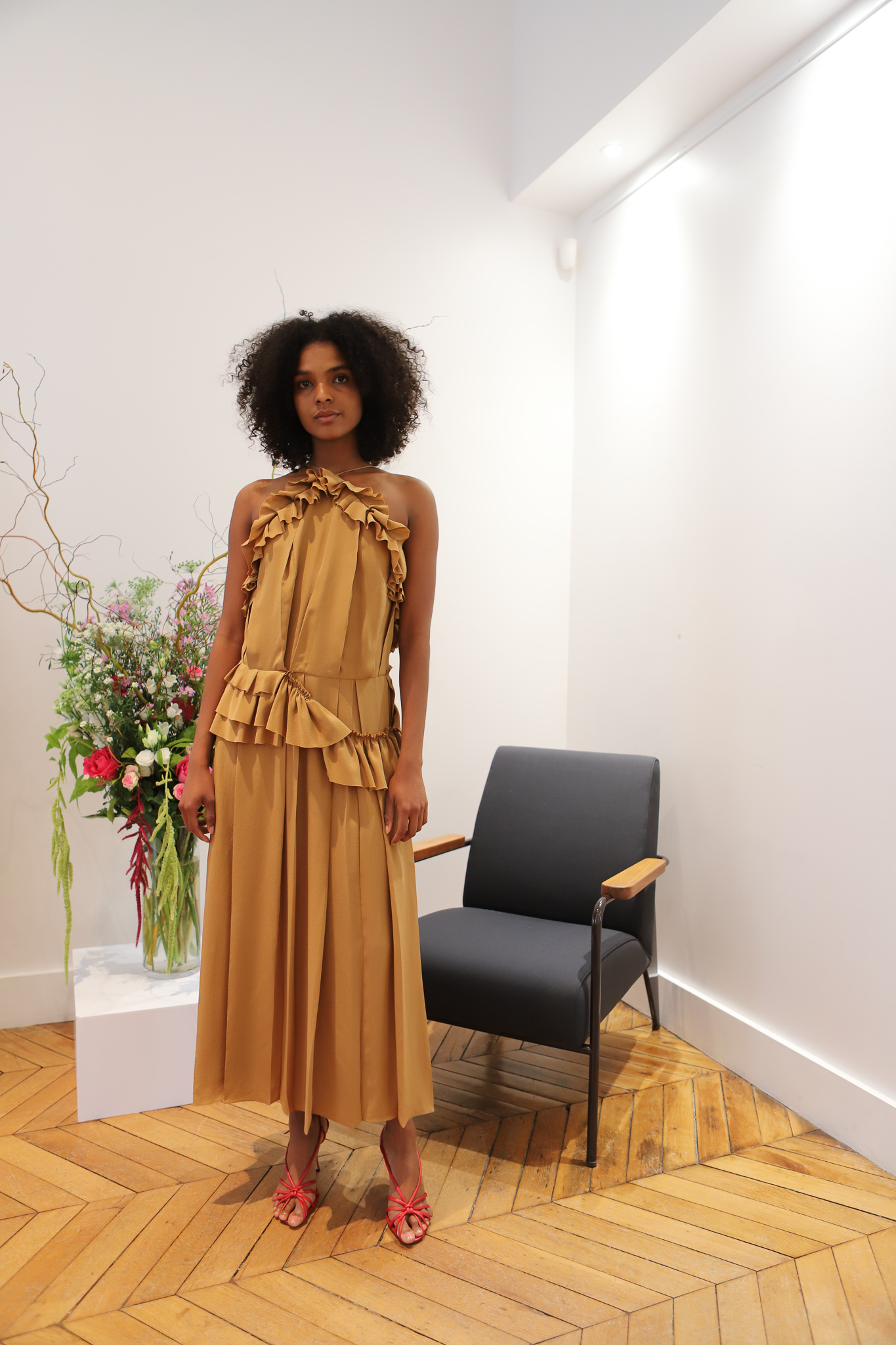 Victor Beckham Ruffled Pleated Dress in Brown Spring 20 RTW