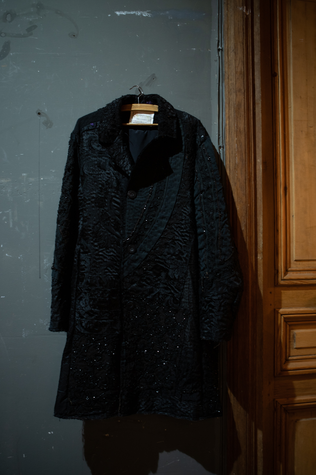 By Walid Embroidered Sequin Coat in Black FW20