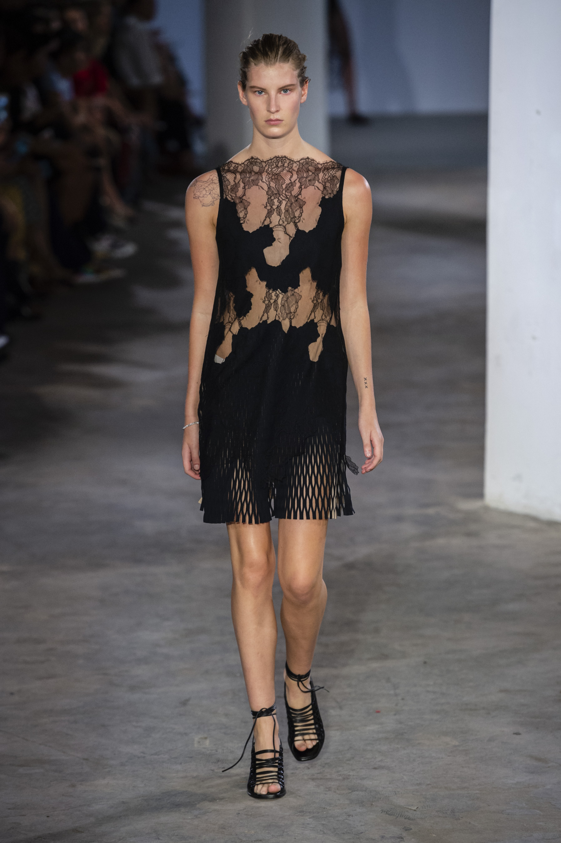 Dion Lee Runway Erosion Lace Mini Dress Tie Up Sandals Spring 19 RTW