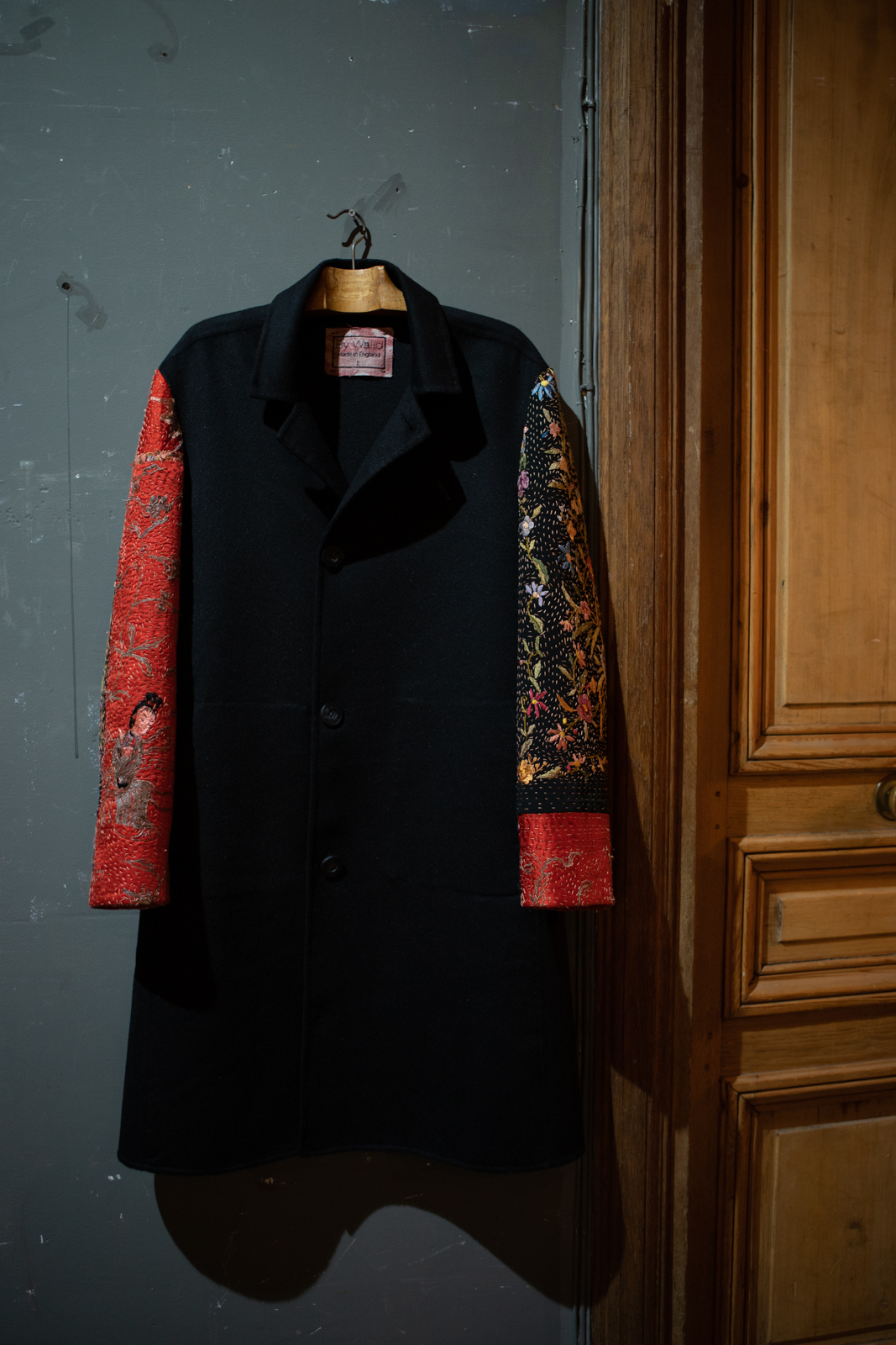 By Walid	Embroidered Contrast Sleeve Coat in Red and Black FW20