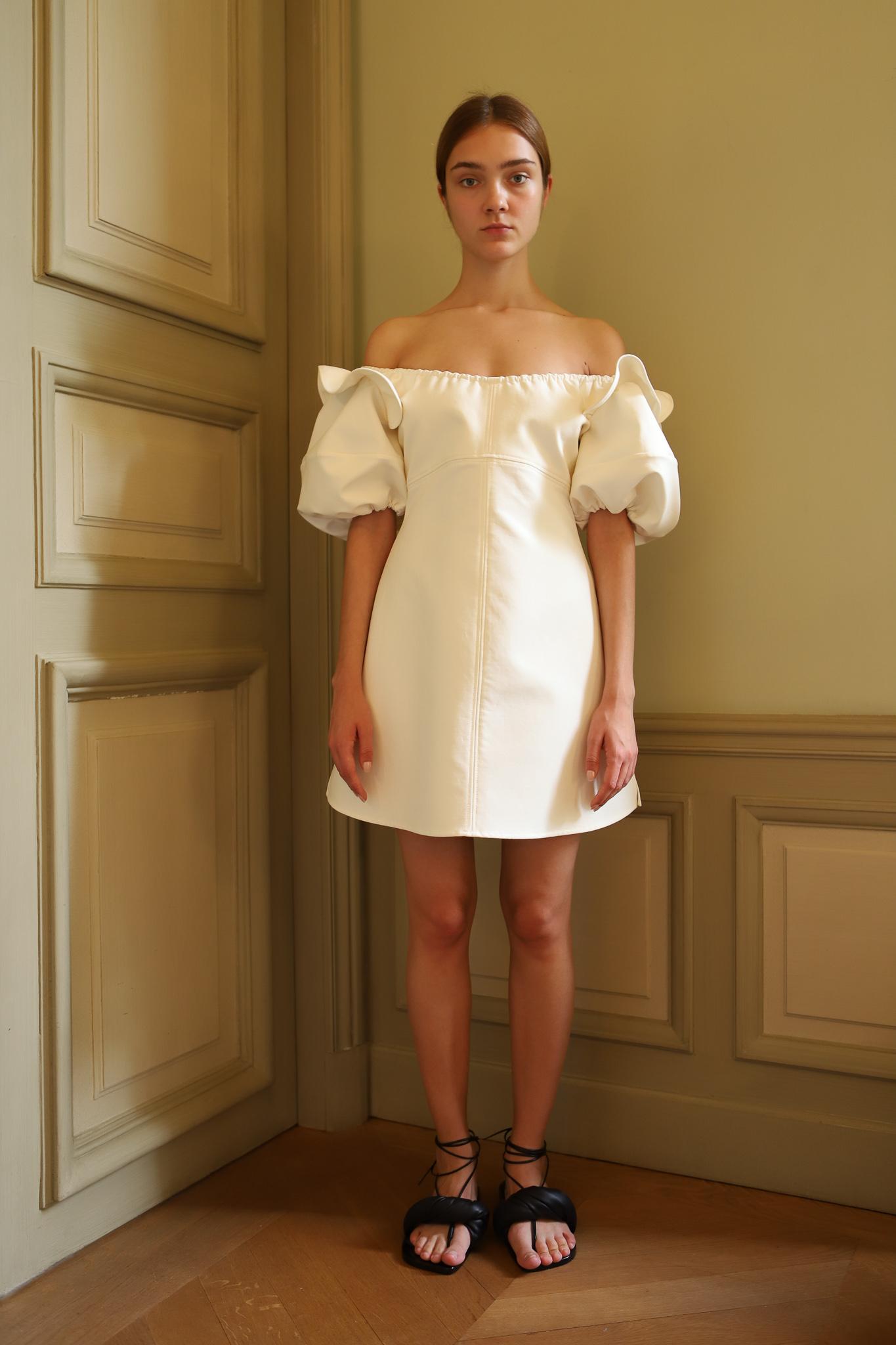 Ellery Lucretius Bubble Sleeve Dress in White Spring 20 RTW