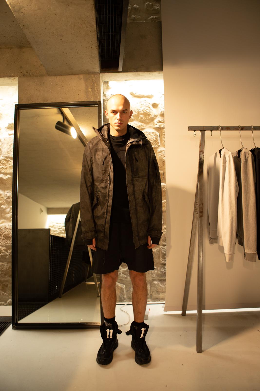 11 By Boris Bidjan Saberi High Zip Cold Dye Hooded Jacket Drawstring Shorts Salomon Bamba 2 High Skeaners in Black FW20