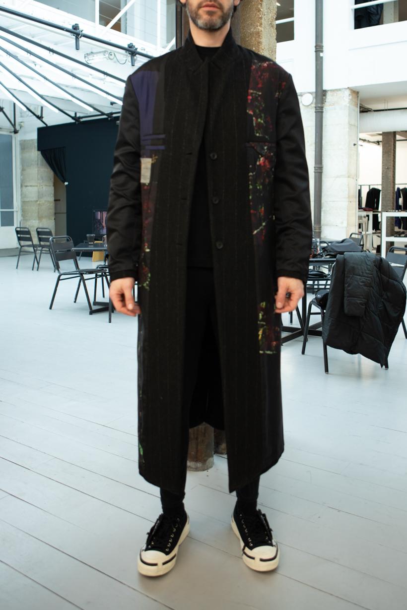 Yohji Yamamoto Inside Out Pinstripe Coat Skinny Sweatpants in Black FW 20