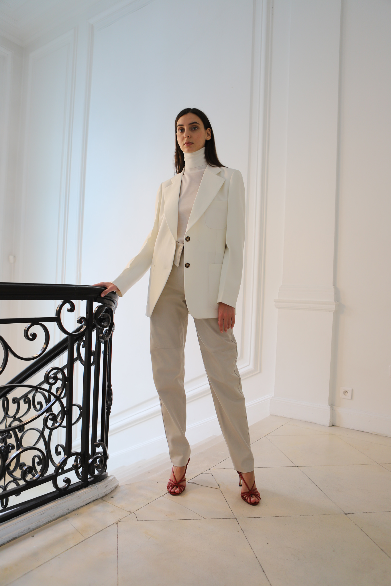 Victor Beckham Turtleneck Top in White Tailored Blazer in White Slim Fit Trousers in Beige Spring 20 RTW