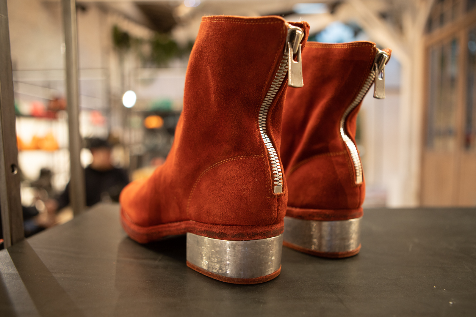 Guidi Metal Heel Back Zip Boots in Orange Suede FW20