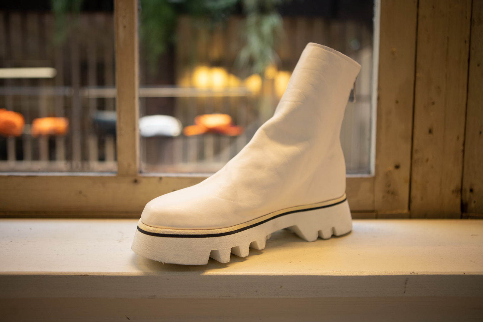 Guidi Back Zip Boot in White Leather FW20