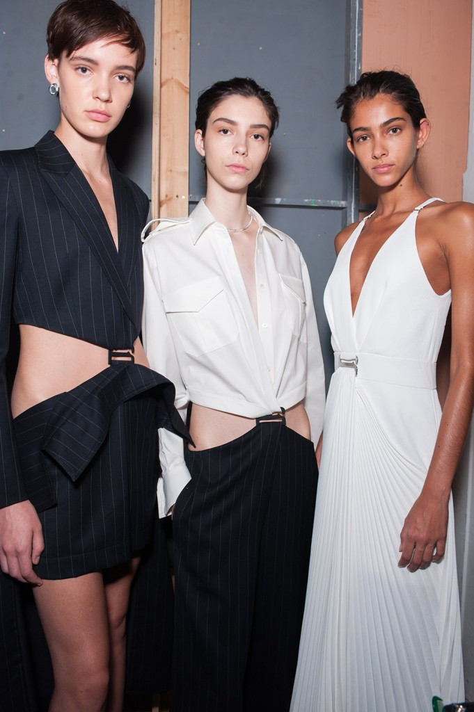 Dion Lee Backstage Pinstripe Suspended Trench Skirt Blazer in Navy Suspended Jumpsuit in White Collar Top and Pinstripe Navy Bottoms Suspended Draped Dress in White Spring 19 RTW