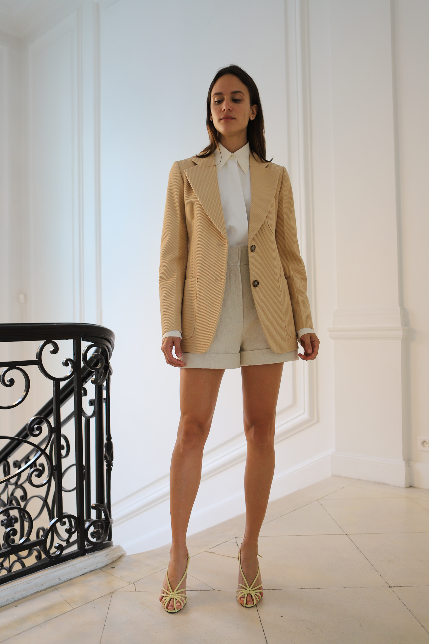 Victor Beckham Tailored Blazer in Brown White Button Shirt in White High Waisted Shorts in White Spring 20 RTW