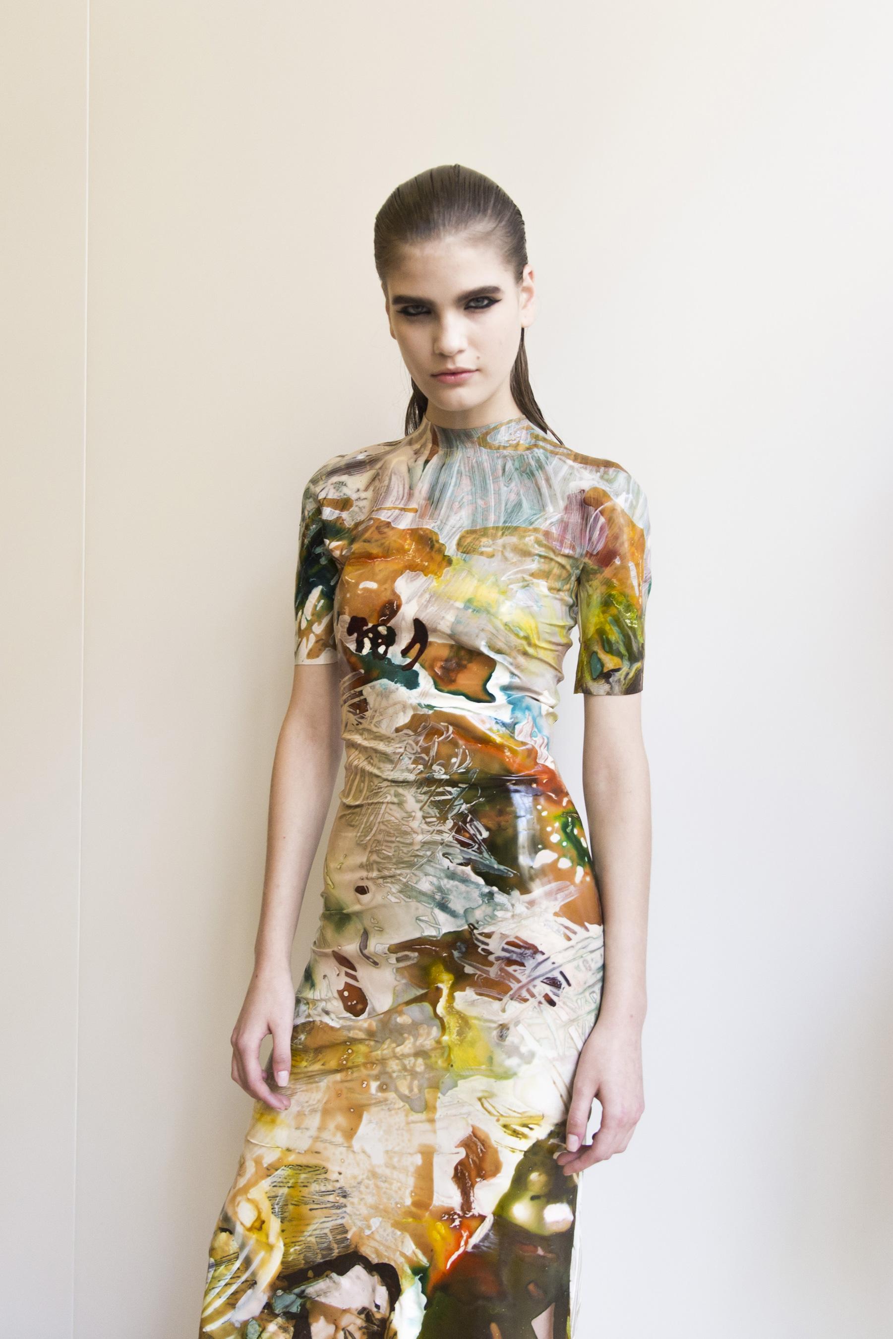 Mugler Backstage Paint Splatter Print Dress Spring 19