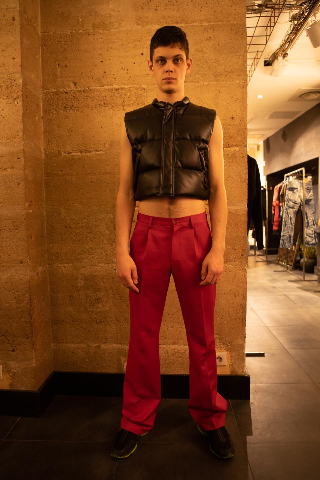 Misbhv Padded Vest in Black Leather FW20