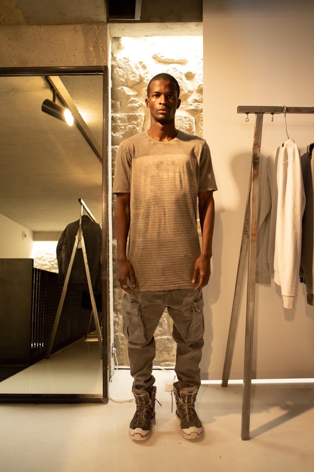 11 By Boris Bidjan Saberi Tie Dye Print T-Shirt Cargo Pants Hiker Boots in Grey FW20
