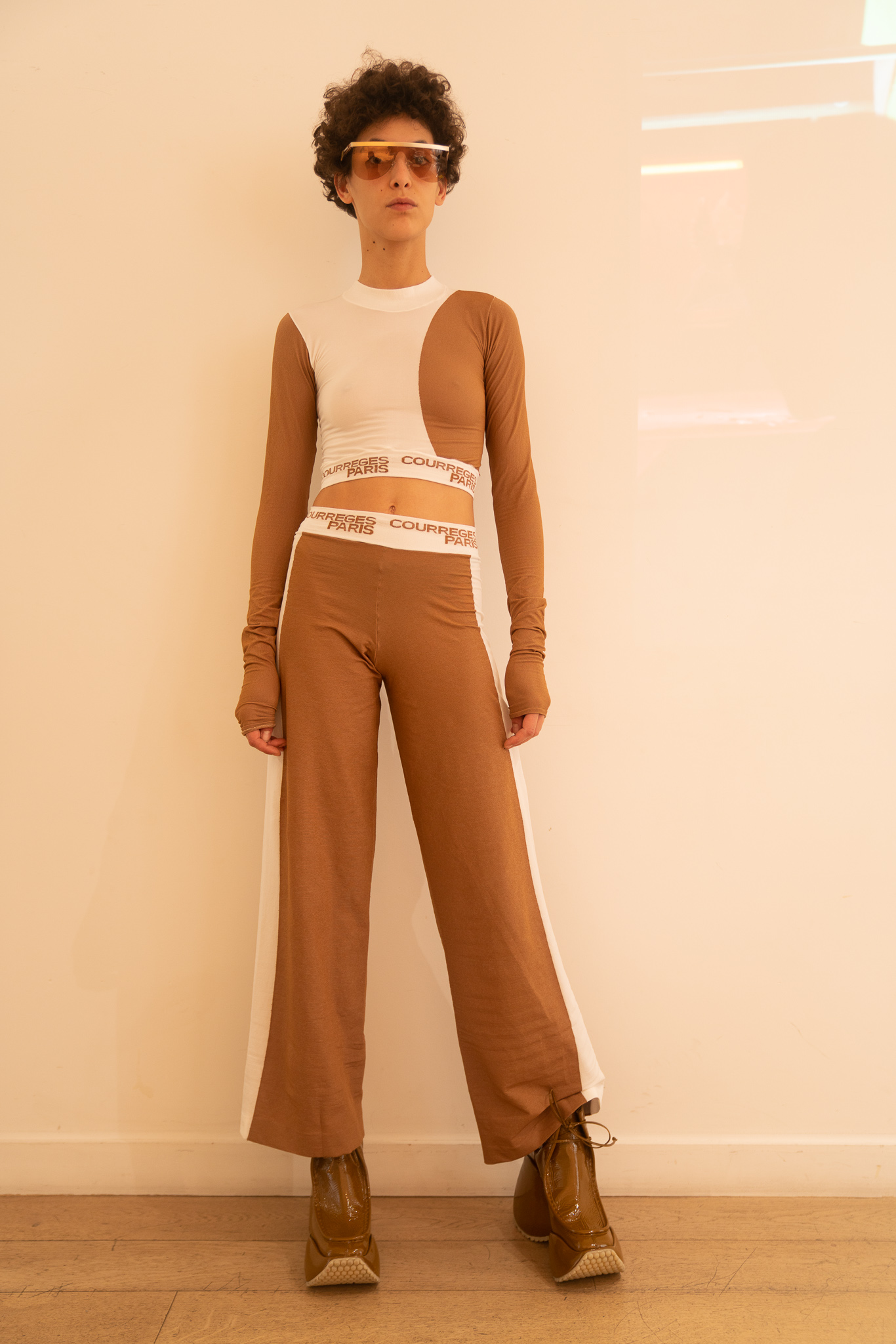 Courreges Long Sleeve Logo Crop Top in Brown and White Logo Flared Pants in Brown SS20