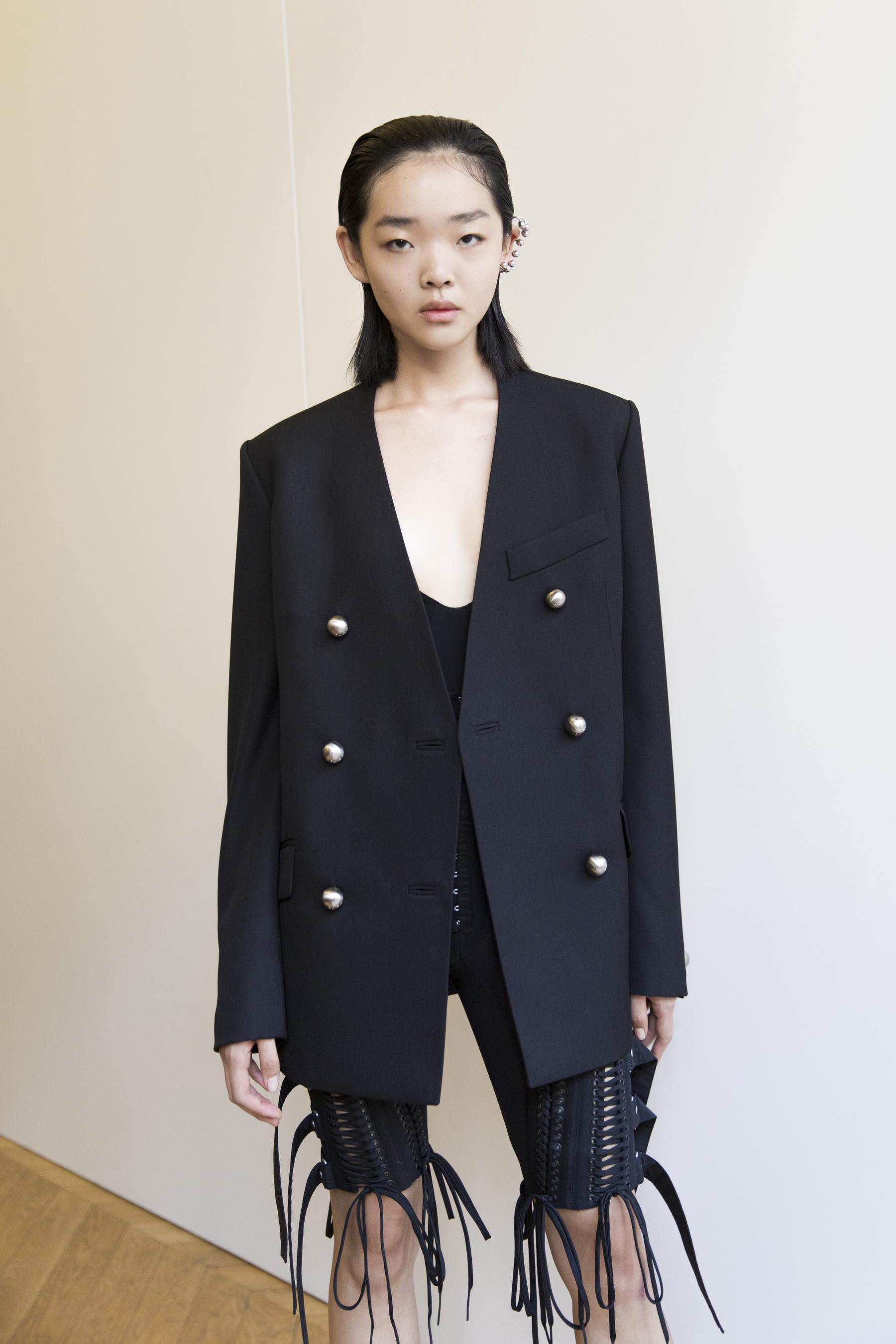 Mugler Backstage Oversized Blazer in Black Cut Out Back Bodysuit Tie up Shorts Spring 19