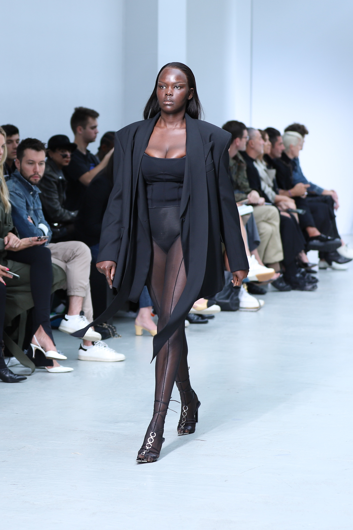Mugler Runway Oversized Blazer in Black Sheer Leggings in Black Bodysuit in Black Tie Up Heels in Black Spring 20 RTW