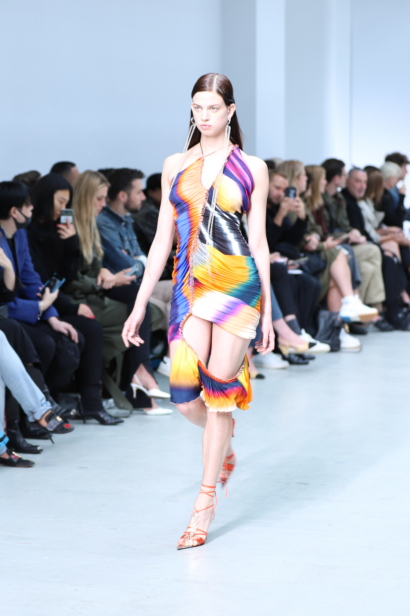 Mugler RunwayvSleeveless Ruched Multi-Colored Print Cut Out Dress Tie Up Heels in Orange Spring 20 RTW
