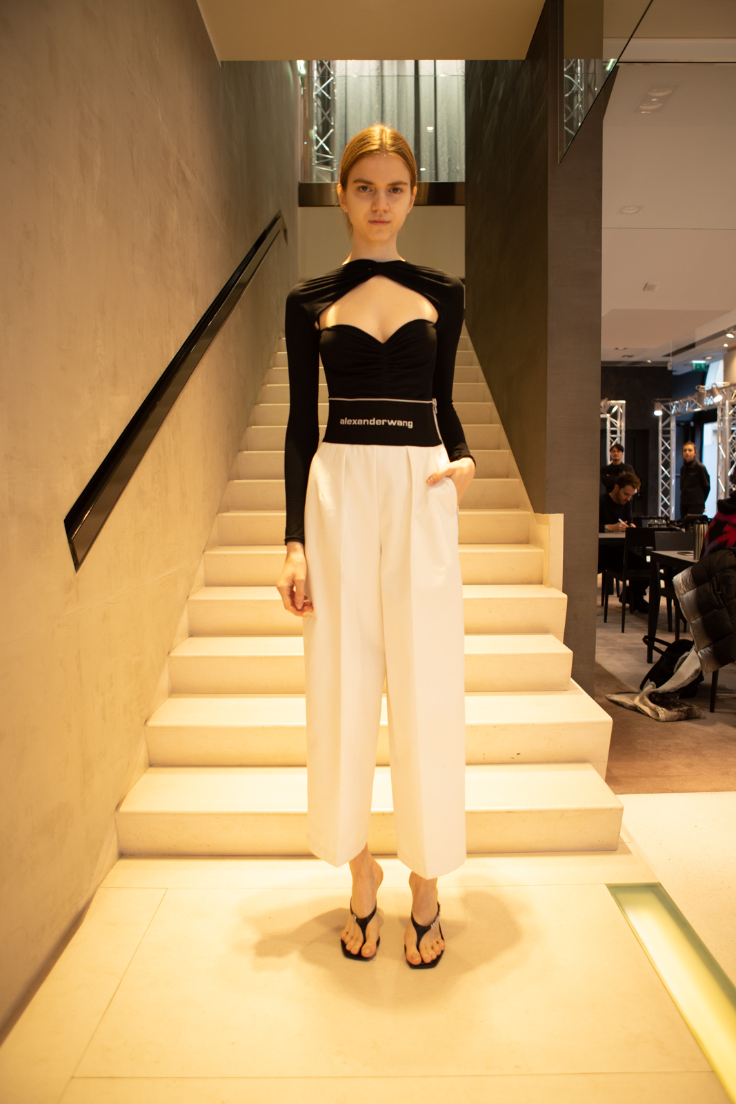 Alexander Wang Knot Cut Out Long Sleeve Top in Black Logo Elastic Carrot Pant in White FW 20