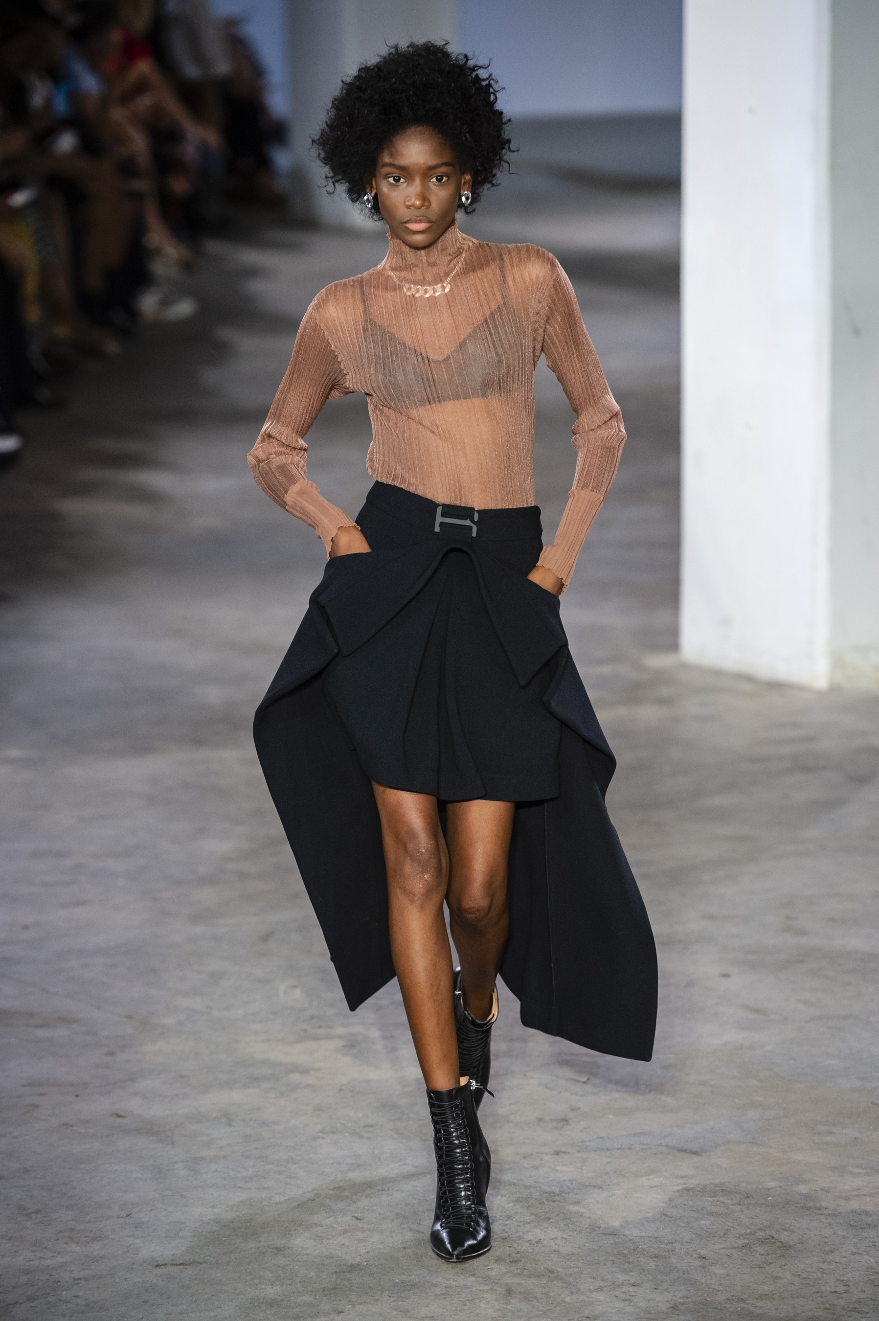 Dion Lee Runway Sheer Fitted Long Sleeve Top in Copper Trace Lace Bandeau Suspended Trench Skirt in Black Spring 19 RTW