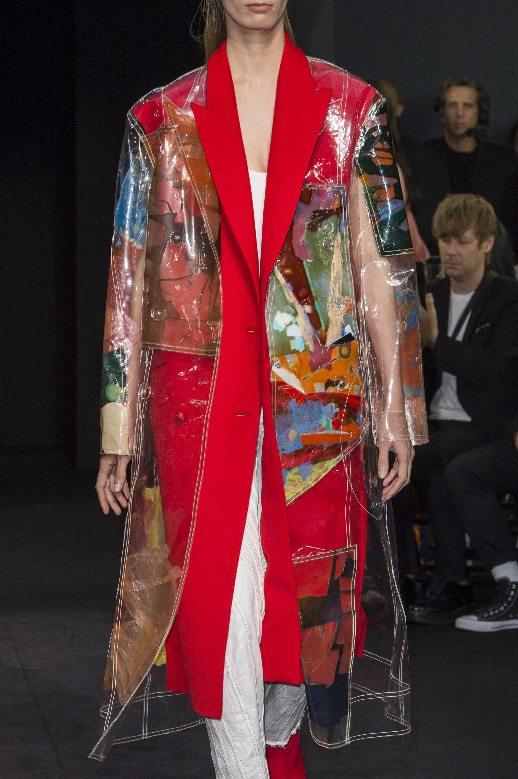 Mugler Details Transparent Patchwork Print Coat Sleeveless Coat in Red High Waisted Spiral Seam Jeans With Raw Bottom Hem Size Zip Boots in Red Suede Spring 19