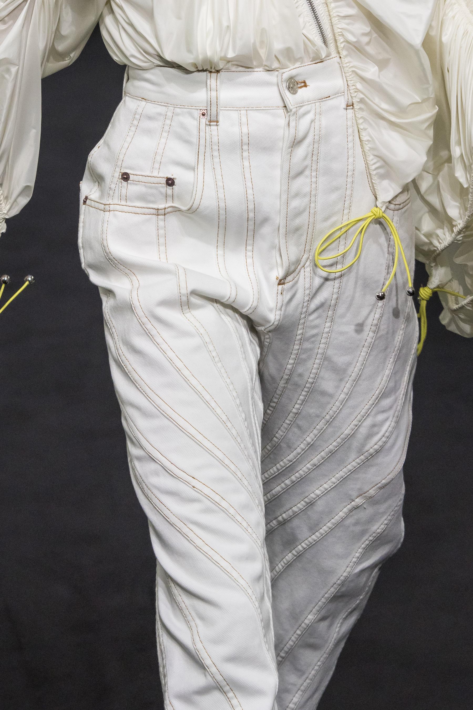 Mugler Details High Waisted Stitch Detail Boyfriend Fit Jeans Parachute Drawstring Taffeta Jacket in White Spring 19