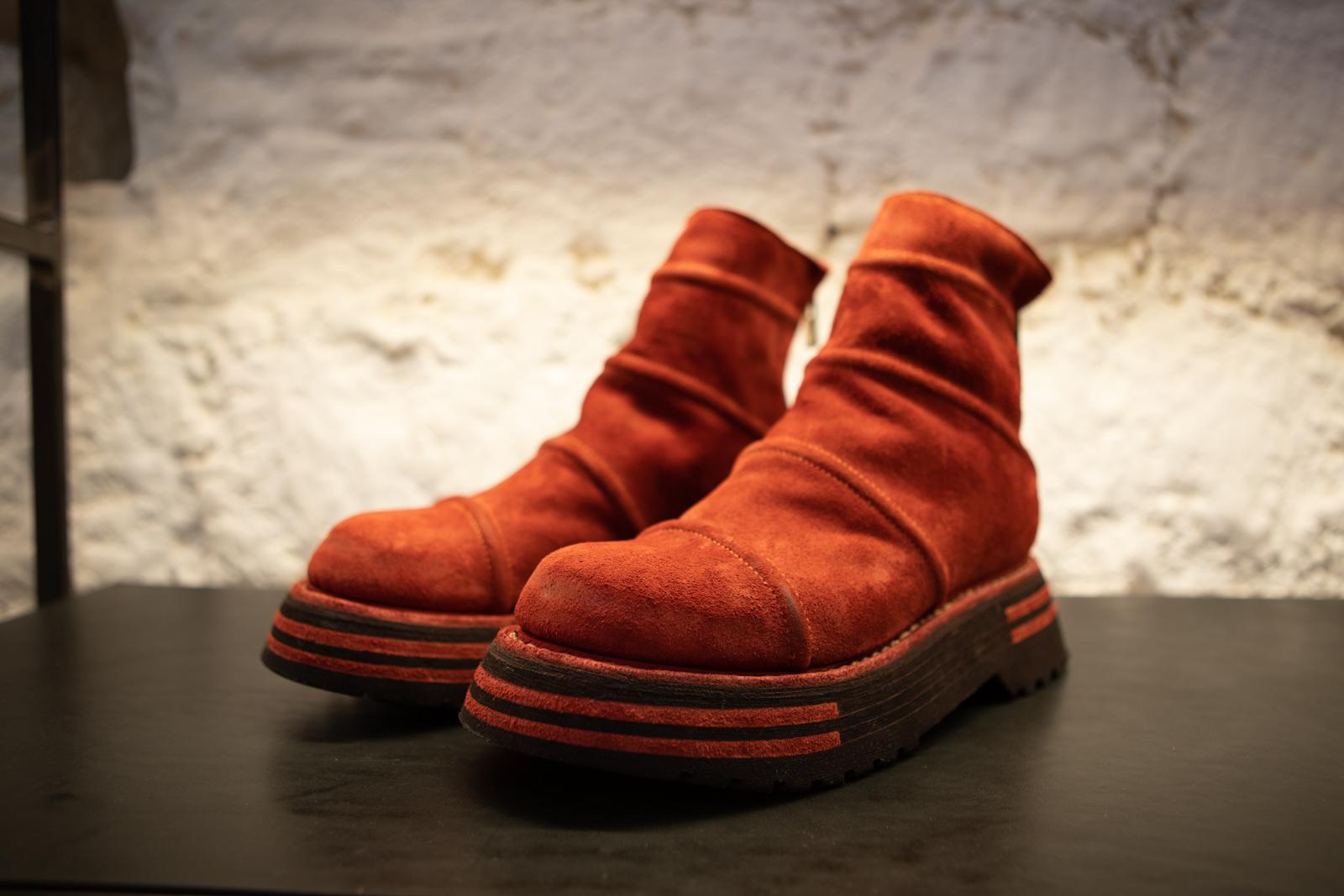 Guidi Back Zip Stich Boots in Orange Suede FW20