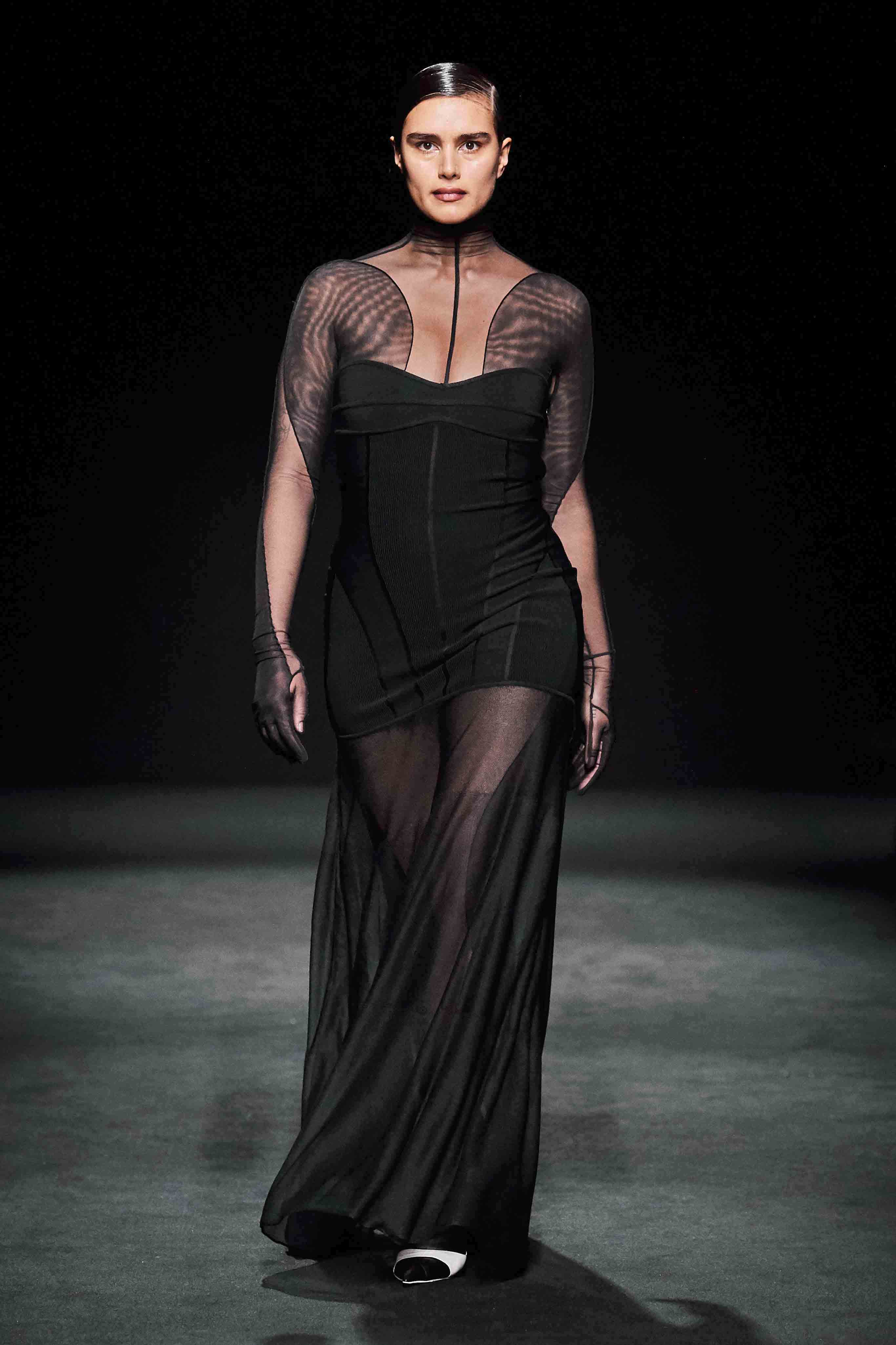 Mugler Runway Sheer Full Bodysuit Dress Fall 20