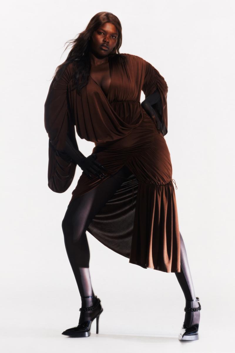 Mugler Campaign Longsleeve Ruffle Hem Dress Resort 20